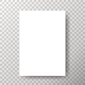 Blank paper with shadow on transparent vector background. Eps10.