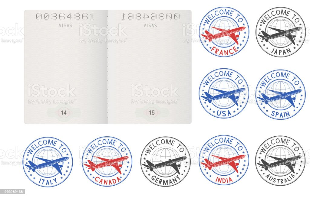 Blank passport pages and decorative travel stamps vector art illustration