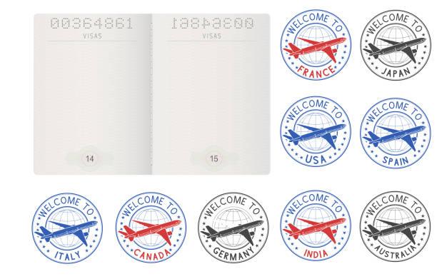 ilustrações, clipart, desenhos animados e ícones de páginas do passaporte em branco e selos de viagem decorativas - passaporte e visto