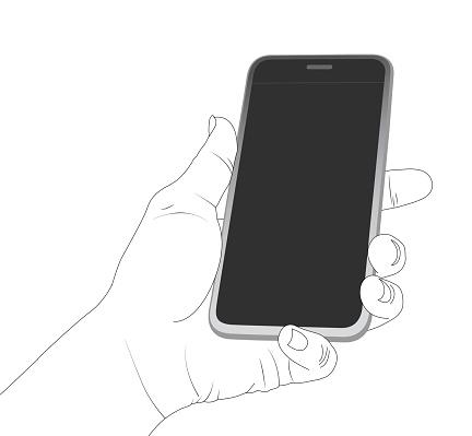 Blank phone screen, smartphone, screen, phone, holding the phone.