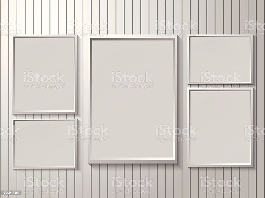 Blank Photo Frame Layout Set On Wall Stock Vector Art & More Images ...
