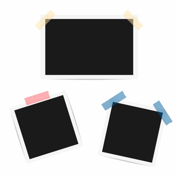 blank photo frame. retro frames with duct tape - portrait stock illustrations