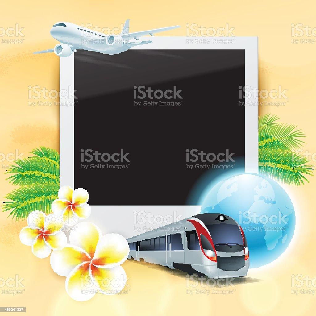Leere Fotos Auf Sand Mit Flugzeug Zug Globus Blumen Stock Vektor Art ...