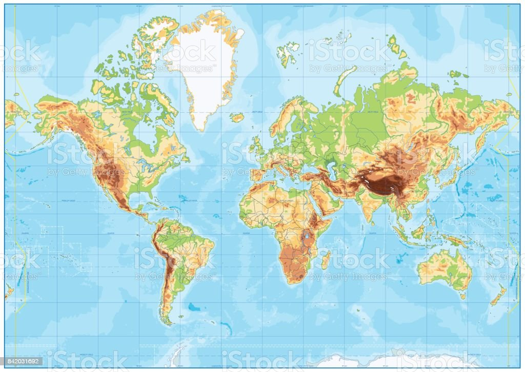 Blank Physical World Map And Bathymetry Stock Illustration