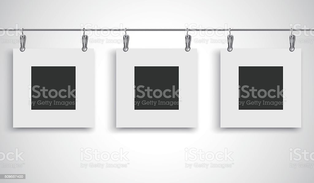Blank Picture Frame Hanging On A Wire Rope With Clip Stock Vector ...