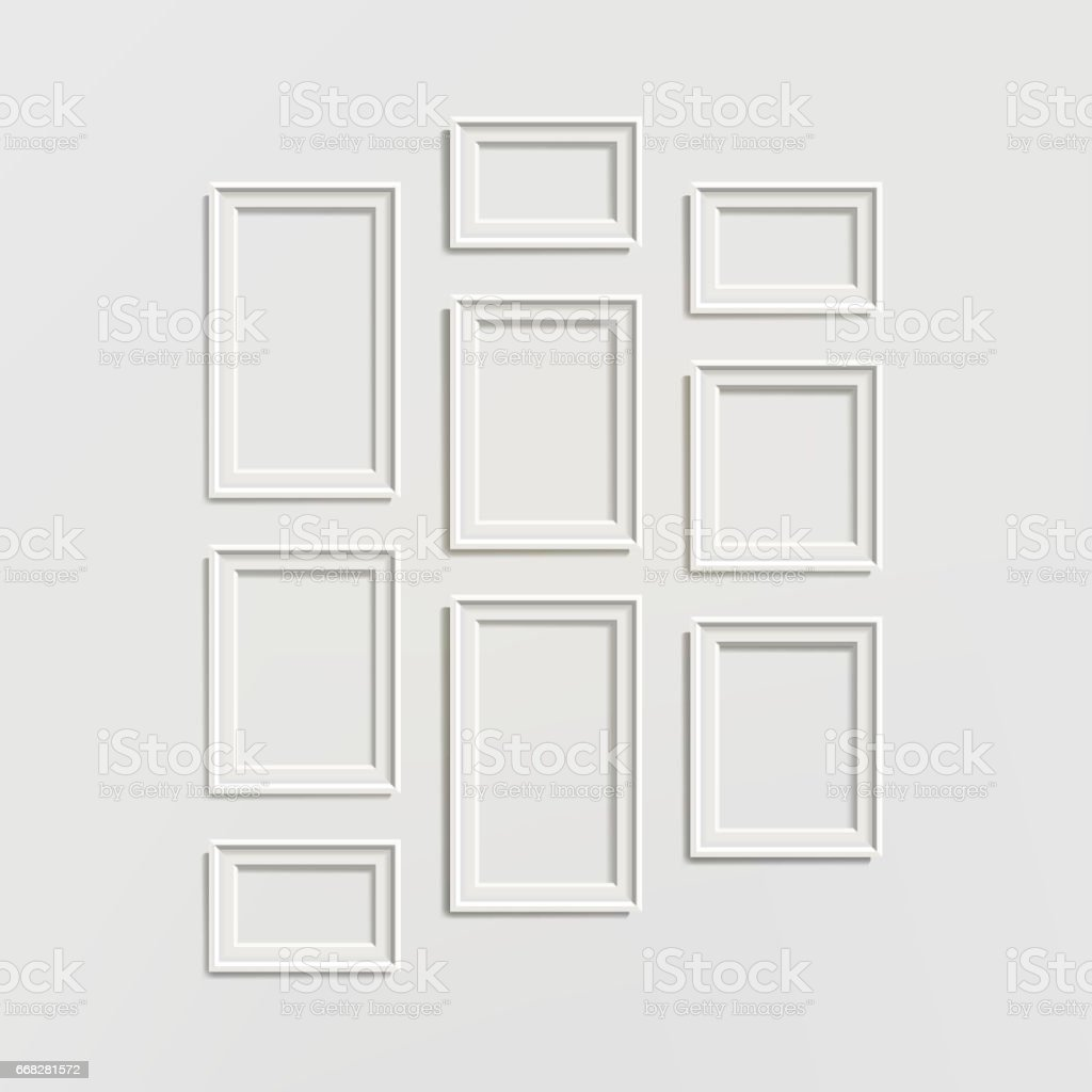 blank picture frame template composition set vector isolated on wall
