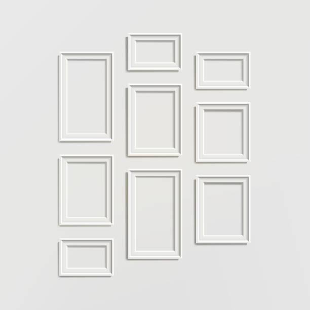 空白な写真フレーム テンプレートの構成設定の壁の背景に分離されたベクトル - 美術館点のイラスト素材/クリップアート素材/マンガ素材/アイコン素材