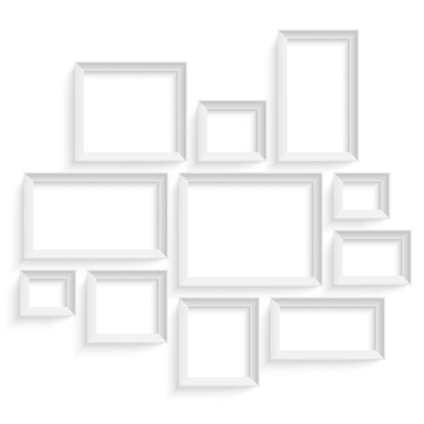 bildbanksillustrationer, clip art samt tecknat material och ikoner med blank picture frame template set isolated on wall. photo art - painting wall
