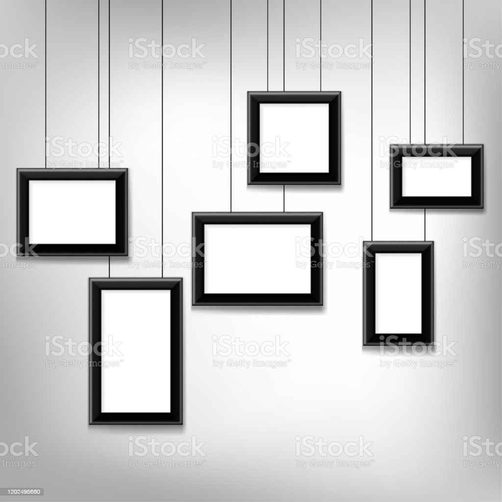 Blank Picture Hanging Frames Isolated On Grey Background Modern Photo Frames Stock Illustration Download Image Now Istock