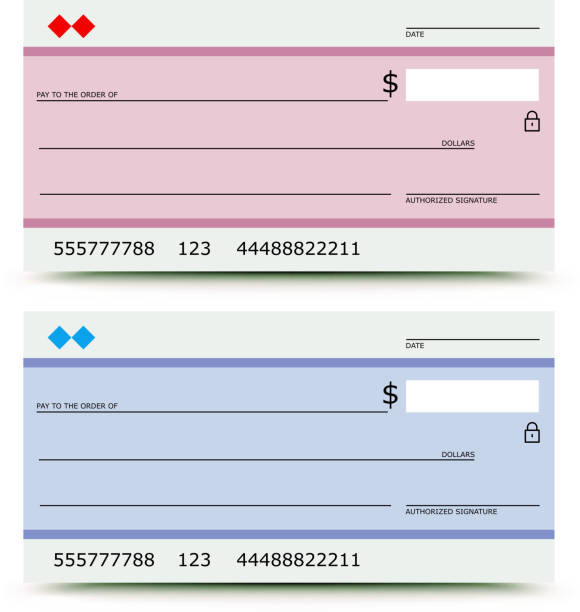 Blank pink and blue bank checks vector art illustration