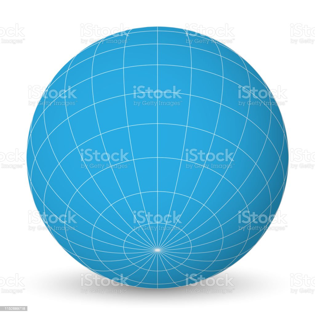 Globe Terrestre Bleu Planète Vierge Avec Grille De Méridiens
