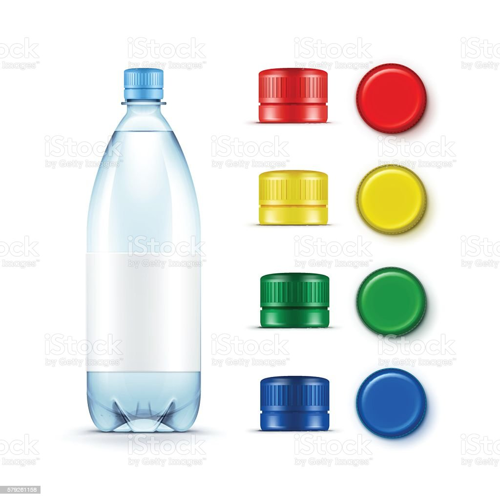 Blank Plastic Blue Water Bottle Multicolored Red Yellow Green Caps vector art illustration