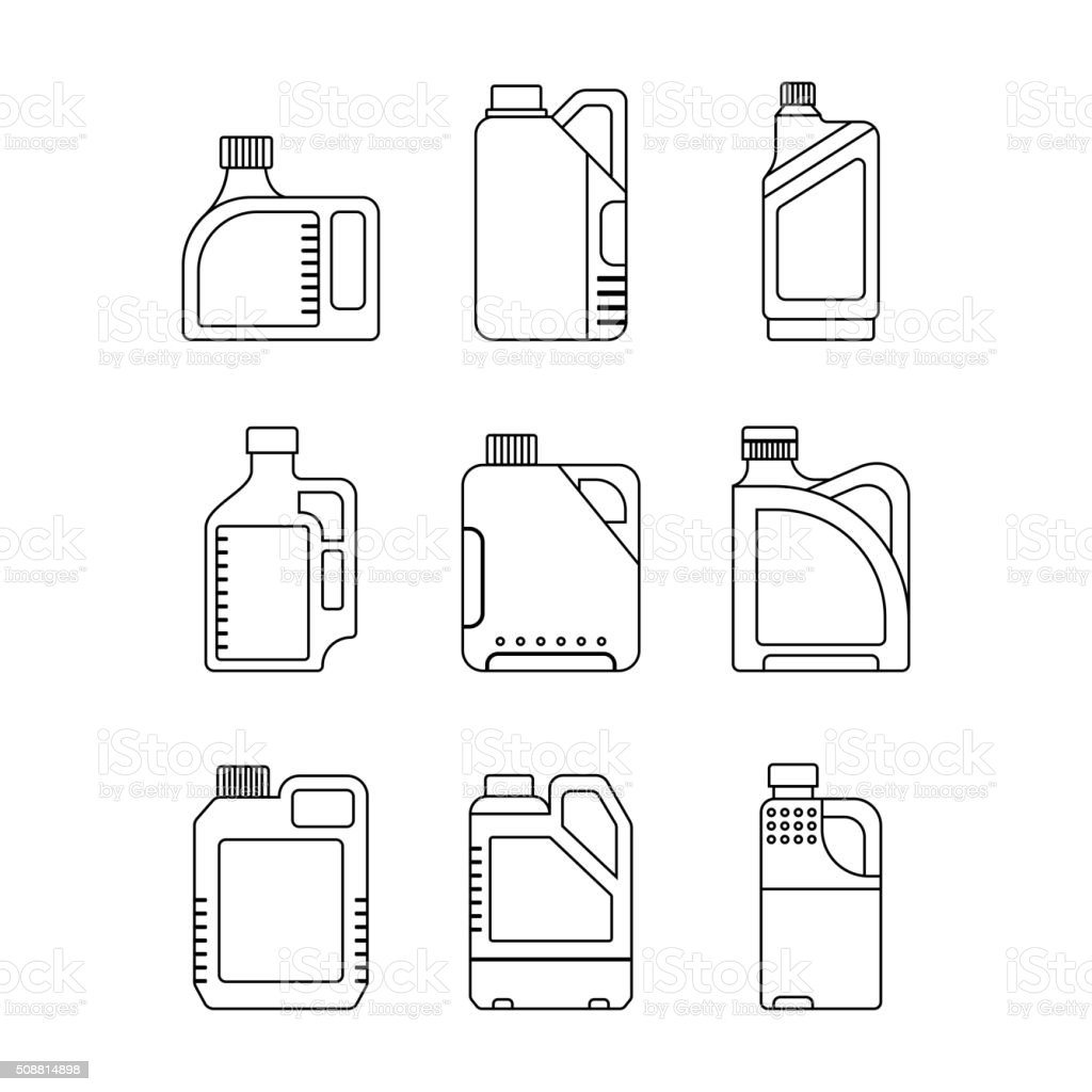 Blank Plastic Canisters, flat icons vector art illustration