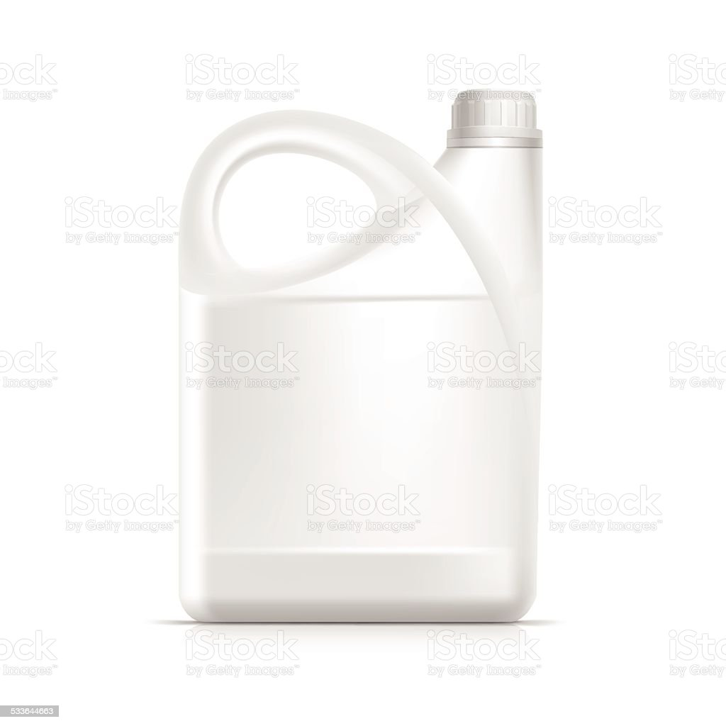 Blank Plastic Jerrycan Canister Gallon Oil Cleanser Detergent Abstergent Isolated vector art illustration