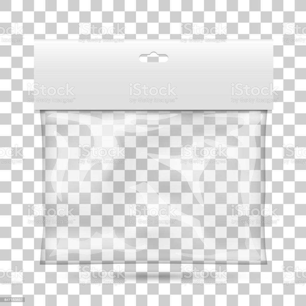 Blank plastic pocket bag. vector art illustration