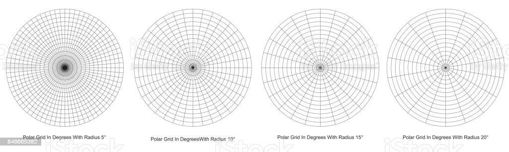 Blank Polar Grid In Degrees Vector Protractor Pie Chart Vector Stock