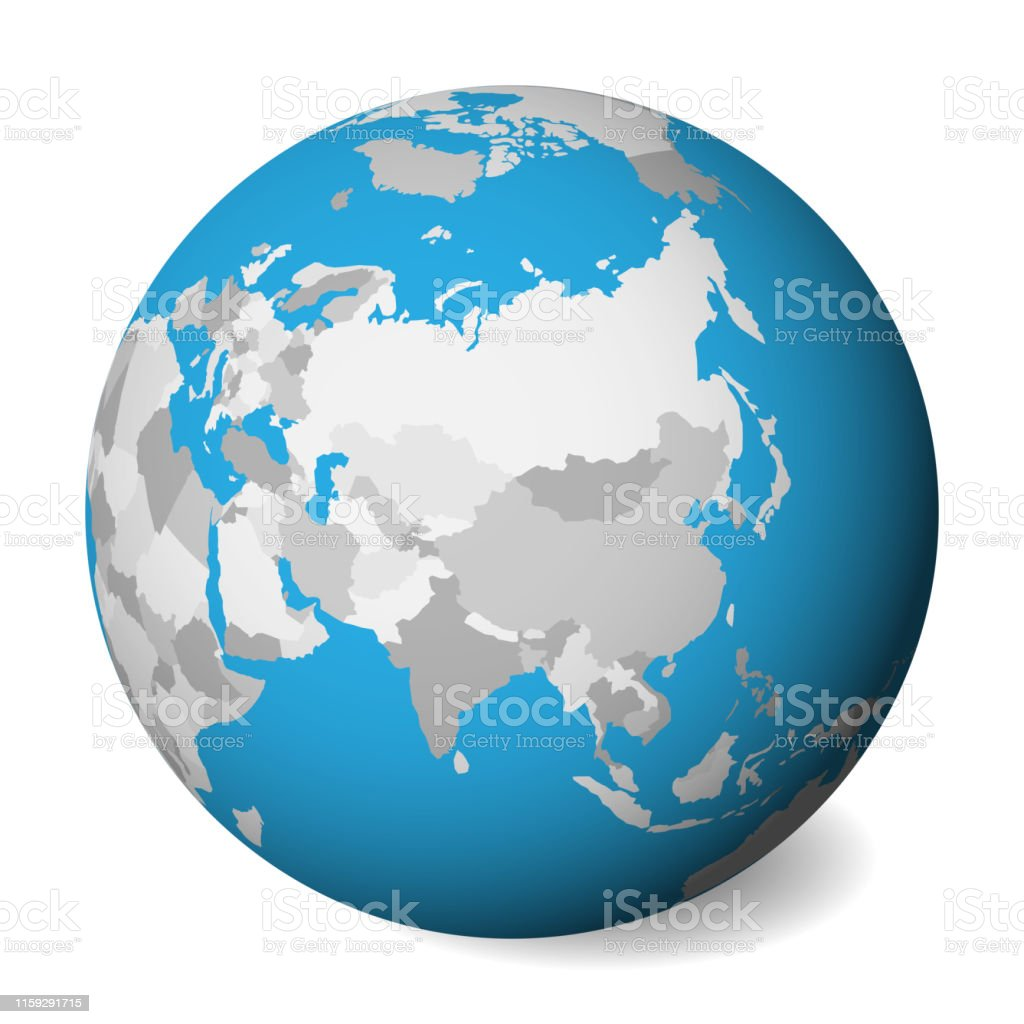 Map Of Asia 3d.Blank Political Map Of Asia 3d Earth Globe With Blue Water And Grey