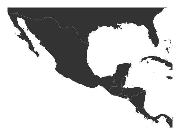 Blank political map of Central America and Mexico. Simple dark grey vector illustration Blank political map of Central America and Mexico. Simple dark grey vector illustration. central america stock illustrations