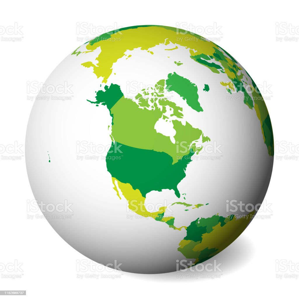 Map Of America 3d Vector.Blank Political Map Of North America 3d Earth Globe With Green Map