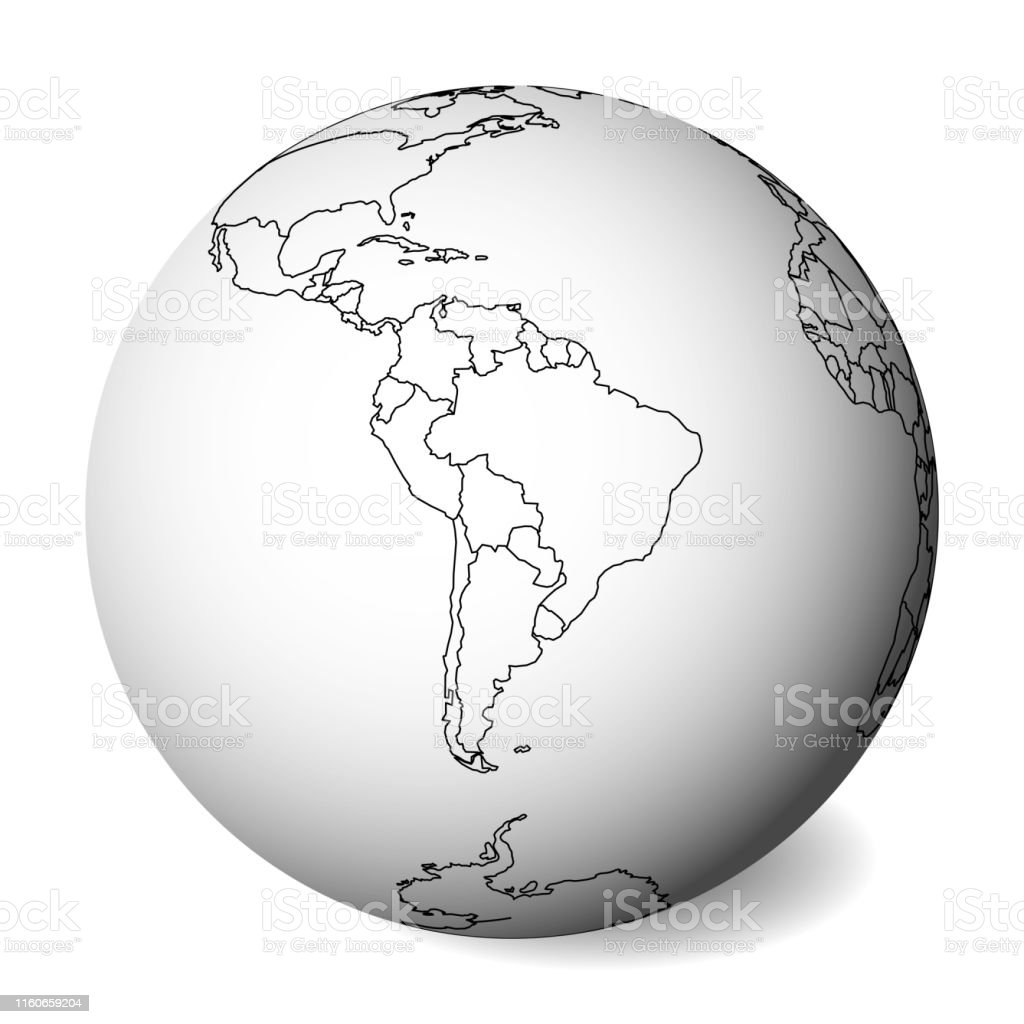 Image of: Blank Political Map Of South America 3d Earth Globe With Black Outline Map Vector Illustration Stock Illustration Download Image Now Istock
