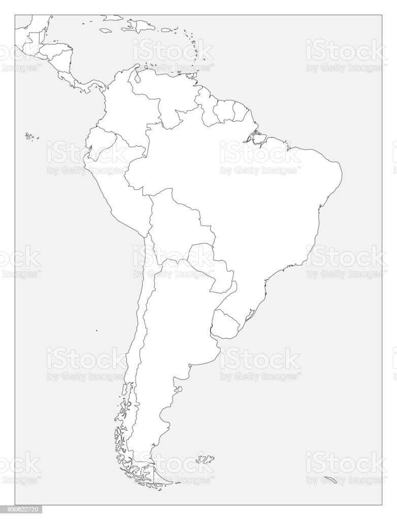 Blank Political Map Of South America Simple Flat Vector Outline Map ...