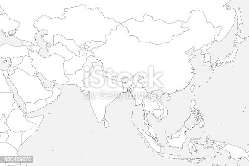 Blank Political Map Of Western Southern And Eastern Asia Thin Black