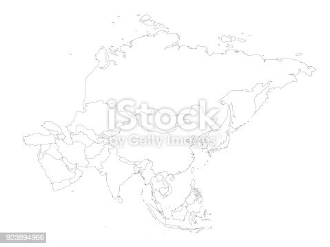 Outline Map Of Asia Continent.Blank Political Outline Map Of Asia Continent Vector Illustration