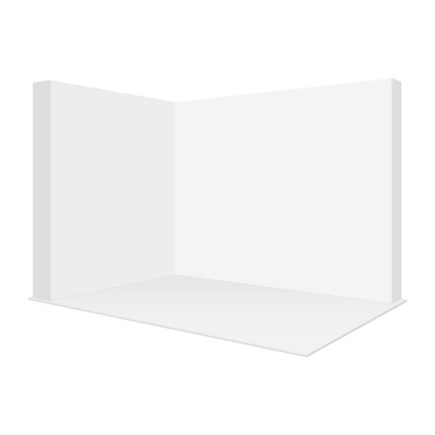 空白のポップアップトレードショーブースのモックアップ、白の背景に分離 - 展示会点のイラスト素材/クリップアート素材/マンガ素材/アイコン素材