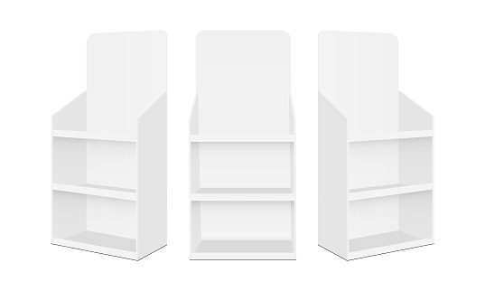 Blank POS display stands with shelves, isolated on white background