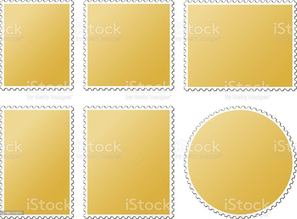 Blank Postage Stamps Gold vector art illustration