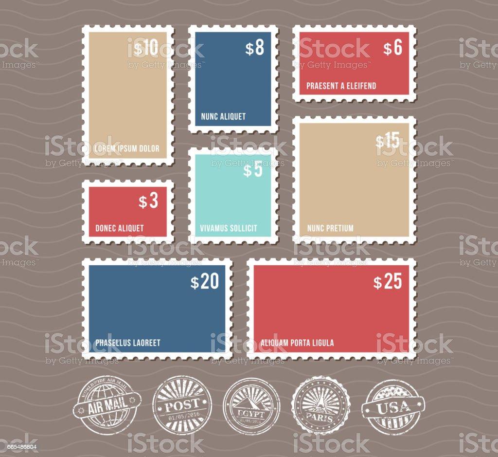 Leere Briefmarken in verschiedenen Größen und Vintage Stempel Vektor-Satz – Vektorgrafik