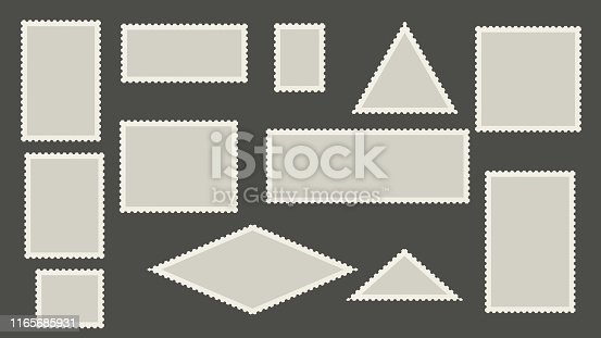 Blank postage stamps template. Perforated post marks