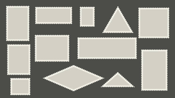 Blank postage stamps template. Perforated post marks. Blank postage stamps template. Perforated post marks postmark stock illustrations