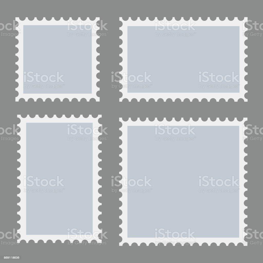 Leere Briefmarken Vorlage Auf Dunklem Hintergrund Gesetzt Rechteck ...