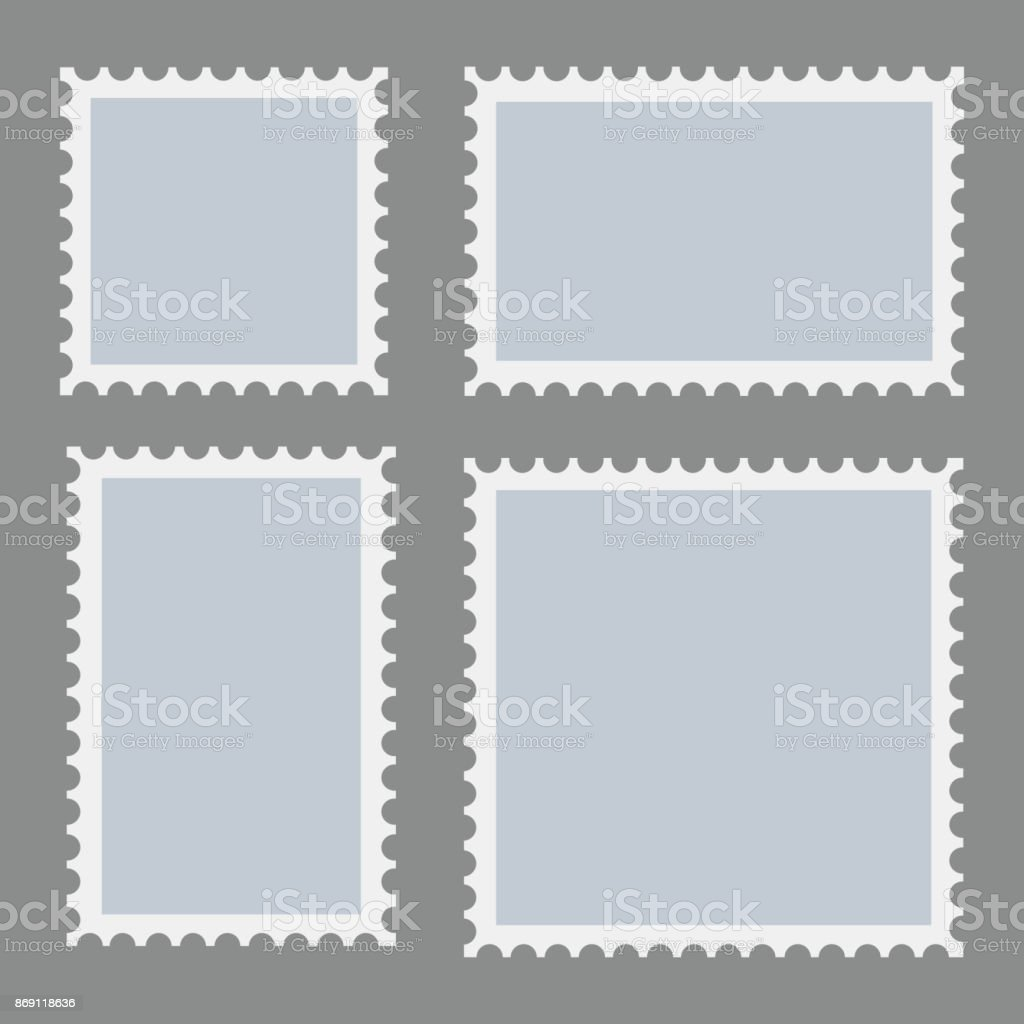 Leere Briefmarken Vorlage auf dunklem Hintergrund gesetzt. Rechteck und Quadrat Briefmarken für Umschläge, Postkarten. Vektor. – Vektorgrafik