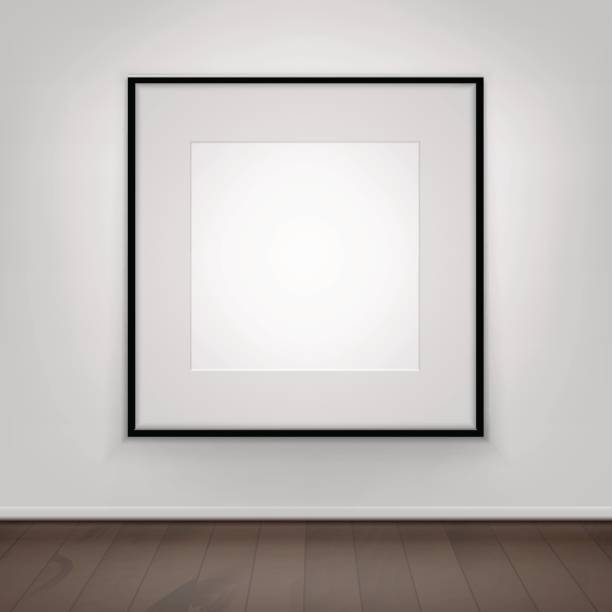 Blank Poster Picture Black Frame on Wall with Brown Front View stock photo