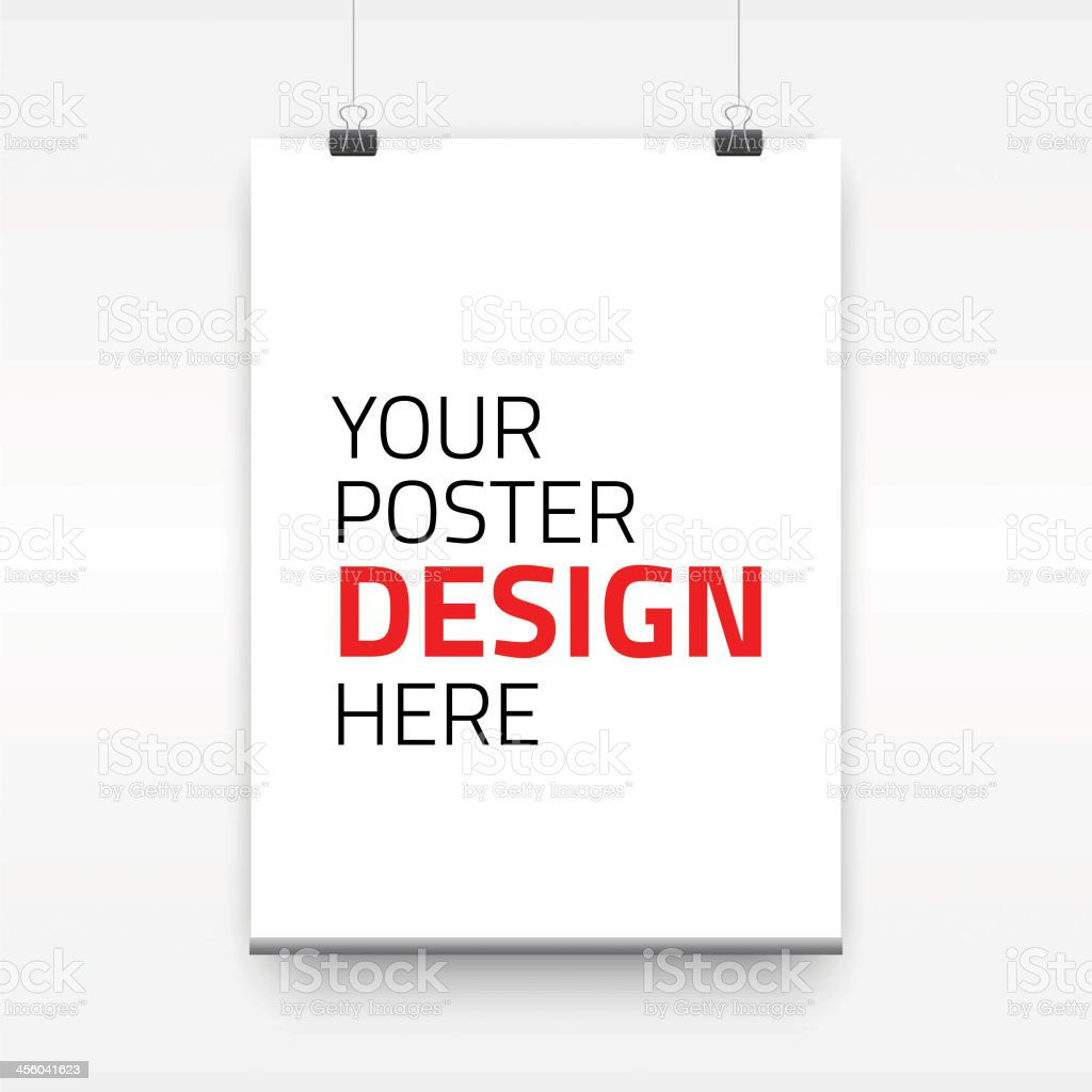 Blank poster template with binder clips on white background stock audience blueprint model object portfolio sign malvernweather Choice Image