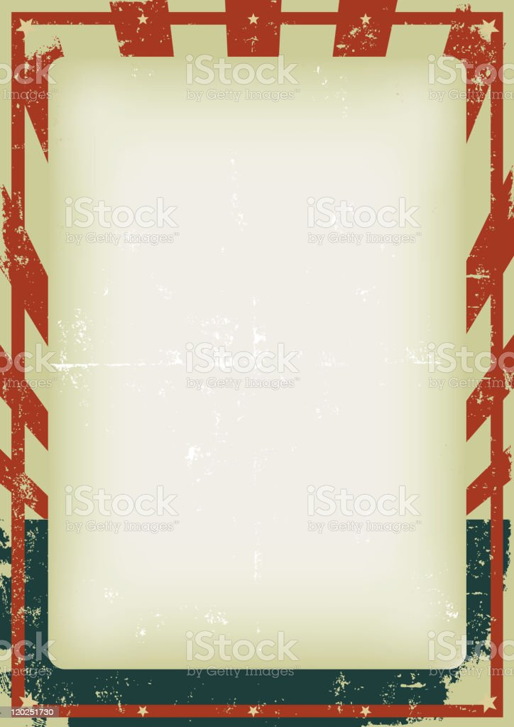 Blank poster with vintage American flag border royalty-free stock vector art