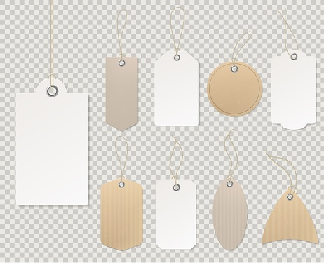 Blank price tags. Paper tag template, blank labels gift card decorative sticker rope empty cardboard shop gift discount vector design