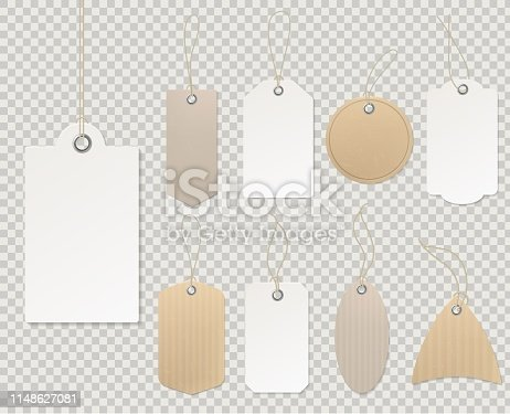 Blank price tags. Paper tag template, blank labels gift card decorative sticker rope empty cardboard shop gift discount vector retail design