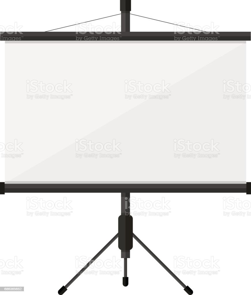 Blank projection screen on tripod isolated on white vector art illustration