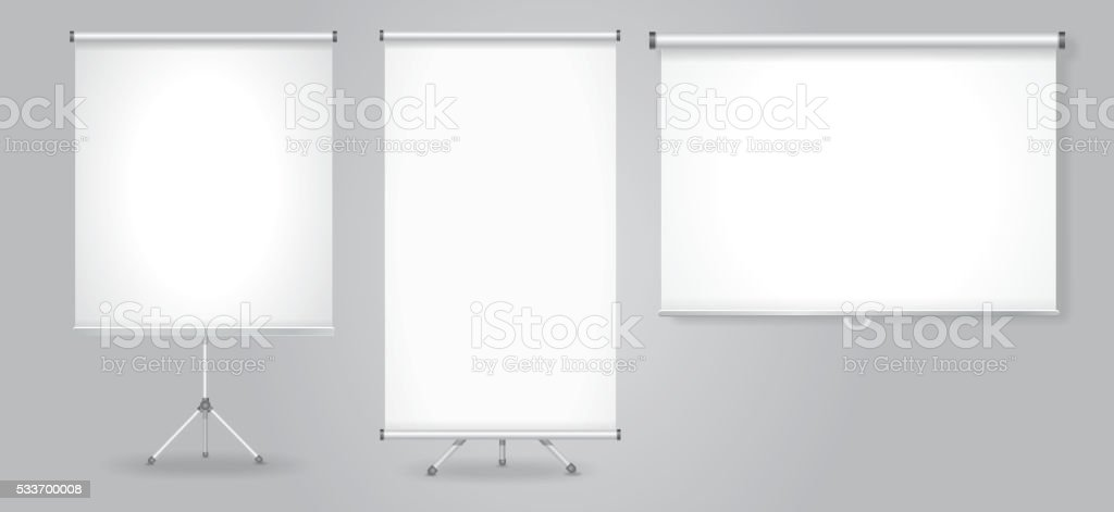 Blank Promotion Stand and roll up banners set. Vector template vector art illustration