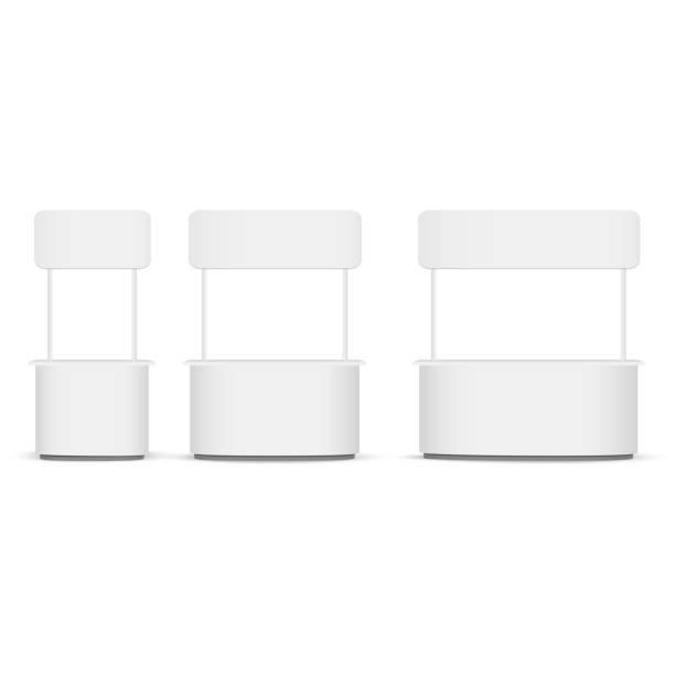 白い背景に空白のプロモーションスタンド。ベクターイラスト - 窓口点のイラスト素材/クリップアート素材/マンガ素材/アイコン素材