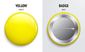 Blank purple glossy badge or button. 3d render. Round plastic pin, emblem, volunteer label. Front and Back Side.