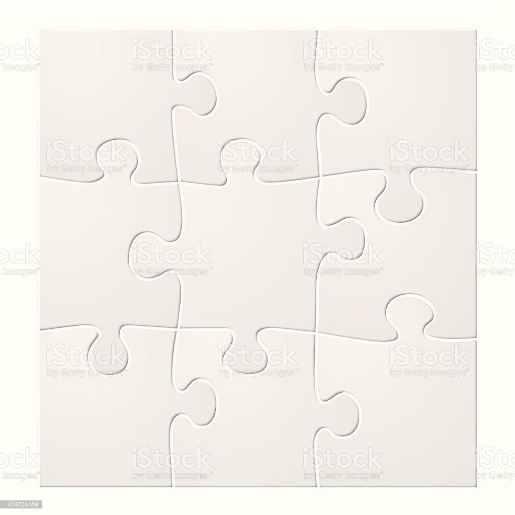 blank puzzle tiles vector art illustration
