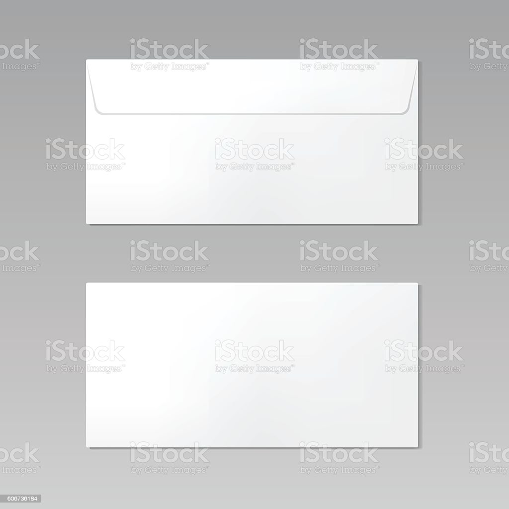 Blank realistic closed envelope front and back view mockup – Vektorgrafik