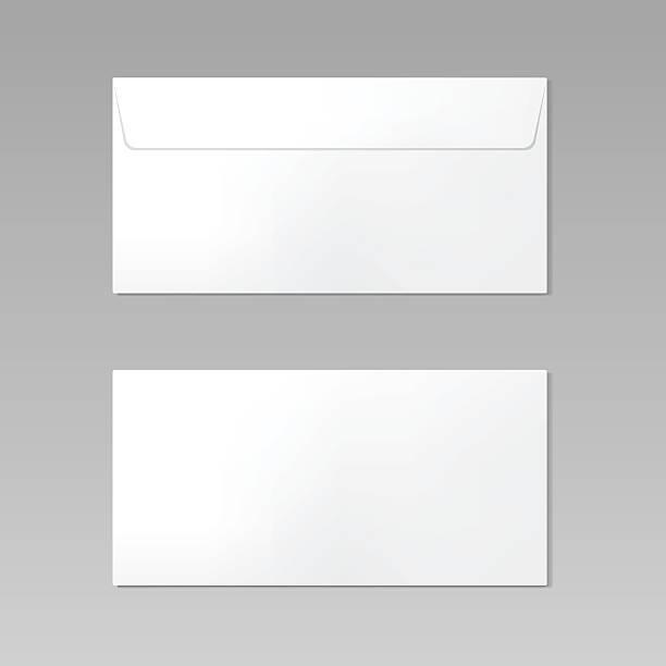Blank realistic closed envelope front and back view mockup – Vektorgrafik