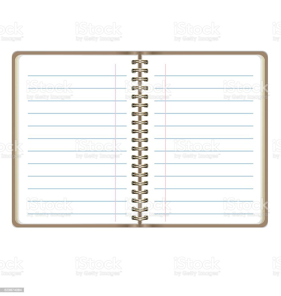 blank realistic open notebook with lines isolated on white