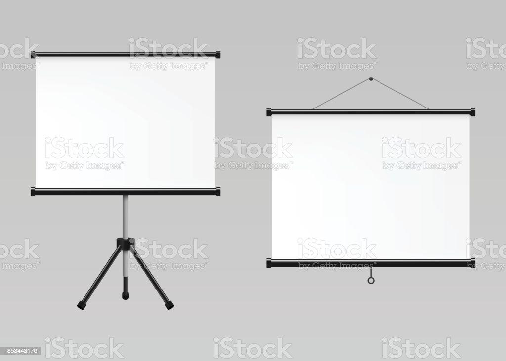 Blank realistic projection screens mockup vector art illustration