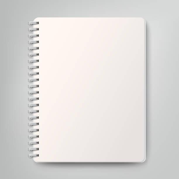 Leere realistische Spiralblock, isoliert auf weißem Hintergrund – Vektorgrafik